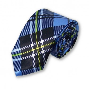 cravate étroite écossaise bleu-clair