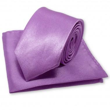 Coffret cravate slim mauve violette et sa pochette
