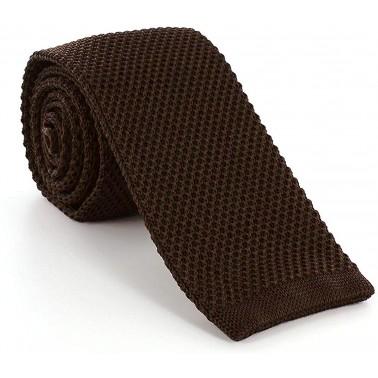 cravate tricot marron