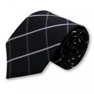 cravate écossaise grise et noire