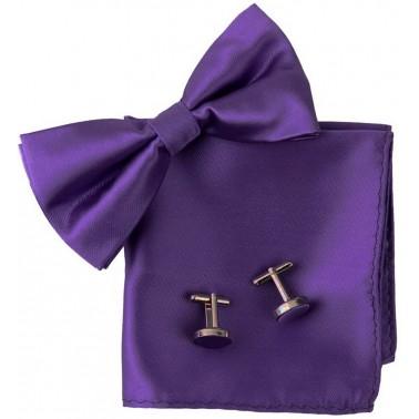 noeud papillon violet, pochette costume et manchettes violettes