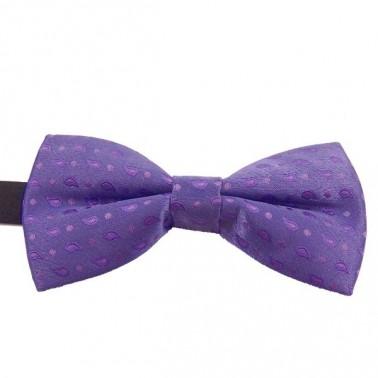 Noeud papillon violet-clair à petits motifs